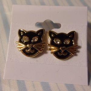 Avon Black Cat Pierced Earrings